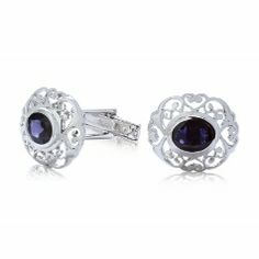 Sterling silver Cufflink with Blue Iolite. Inspired from Indian architecture