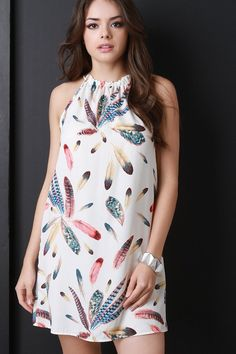 Sleeveless Ruffle Collar Feather Print Dress