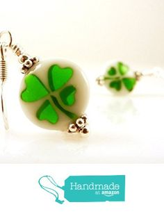 Shamrock Four Leaf Clovers Good Luck Glass Earrings with Silver Toned Earwires from Jenni Leigh Creations https://www.amazon.com/dp/B019ZWSME4/ref=hnd_sw_r_pi_dp_bjrGybC8VKT2M #handmadeatamazon