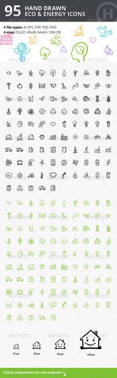 95 Hand-drawn Eco & Energy Icons #design Download: http://graphicriver.net/item/95-handdrawn-eco-energy-icons/3119527?ref=ksioks