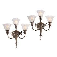 Pair of Stately 3-Light Victorian Torch Sconces