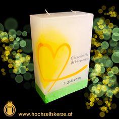 Hochzeitskerze gelb, grün, Herz Pillar Candles, Rustic, Heart, Homemade, Gifts, Dekoration, Candles