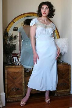 On DollhouseBettie.com: 40s Vintage Cornflower Blue Rayon Bias Nightgown