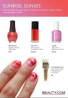 Mimic the bright sky at early dawn or evening dusk with glittery tangerine, electric orange and streaks of gold. Visit Beauty.com for more DIY nail art.