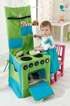 Stuhlhusse als Kinderküche. Ich liebe diese Idee!!! Anleitung gefunden auf Buttinette.de  ;)