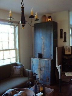 Lovely primitive cupboard with the patina of time. Primitive Furniture, Decor, Country Furniture, Primitive Decorating Country, Colonial Decor, Country Decor, Primitive Living Room, Primitive Cabinets, Home Decor