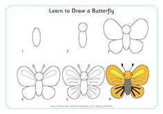 Draw a butterfly for kids learn to draw a butterfly easy animal drawings cartoon drawings drawing Easy Animal Drawings, Easy Drawings For Kids, Drawing For Kids, Sketching For Kids, Lion Drawing, Drawing Faces, Painting & Drawing, Doodle Drawings, Cartoon Drawings