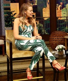 """Promoting her own Preserve site, Blake Lively chatted in the """"Nicole"""" jumpsuit on Live! With Kelly and Michael."""