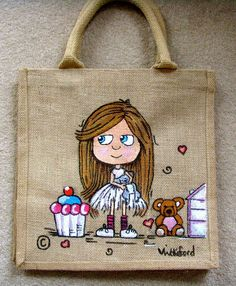 Lovingly hand drawn and painted swag bags by Victoria Wakeford Designs Hessian Bags, Jute Bags, Painted Bags, Hand Painted, Japanese Knot Bag, Fabric Paint Designs, Paint Shirts, Sacs Design, Diy Tote Bag