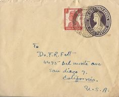 India stamped cover envelope