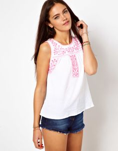 River Island Cami With Embroidered Yoke at ASOS--- love the top but the shorts are too short!!!!!