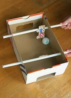 Make a Shoebox Foosball Game – Frugal Fun For Boys and Girls - Spielzeug und Stofftiere Kids Crafts, Soccer Crafts, Projects For Kids, Diy For Kids, Arts And Crafts, Shoebox Crafts, Recycled Crafts Kids, Easy Crafts, Easy Diy
