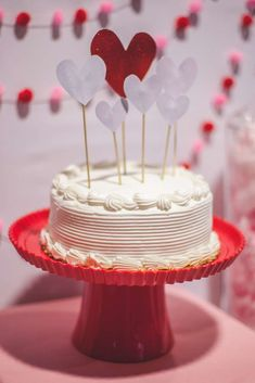 Fun cake at a Valentines Day baby shower party! See more party planning ideas at CatchMyParty.com!