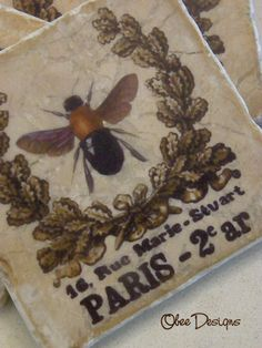 Set of 4 Marble Tile French Bee Coasters with by Obeedesigns