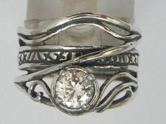 Sterling silver ring set with cz stone. Israeli designer bohemian ring on Etsy, $47.00