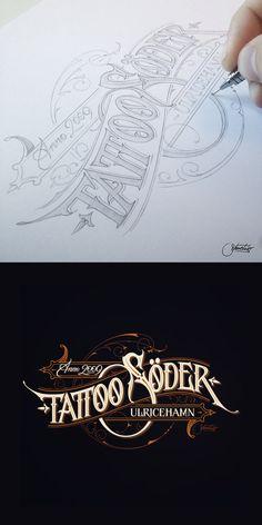Tattoo Soder by suqer on deviantART (Martin Schmetzer) Tattoo Lettering Fonts, Lettering Styles, Lettering Design, Logo Design, Vintage Typography, Typography Letters, Typography Poster, Vintage Logos, Creative Typography Design