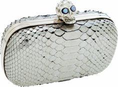 #AlexanderMcQueen Metallic Pewter Python Minaudiere Bag #McQueen