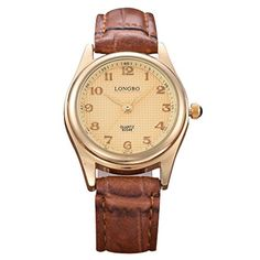 LONGBO Womens Brown Croco Leather Band Strap Business Arabic Numeral Analog Quartz Watches Casual Couple Dress Wrist Watch For Woman *** Click image for more details.