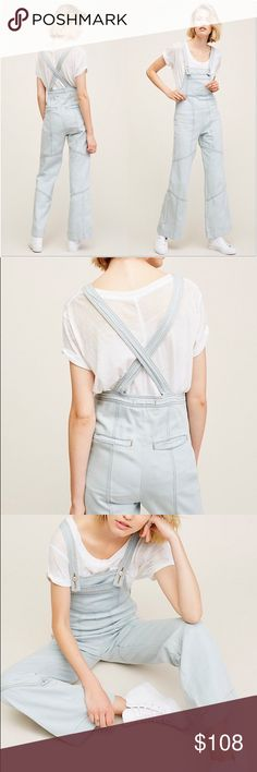 "Free People Denim Overalls Inspired by decades past, these wide leg overalls feature contrast denim detailing on the hem and adjustable straps. 100% cotton. Inseam 31.5"" Free People Jeans Overalls"