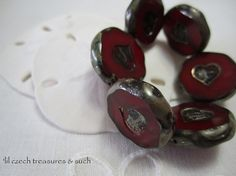 Save 10% storewide with coupon code PIN10  Click here to buy https://www.etsy.com/listing/215861338/red-heart-glass-beads-red-silver-picasso?ref=shop_home_active_16