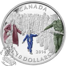 Coin Gallery London Store - Canada: 2014 $10 Wait For Me Daddy Coloured Silver Coin, $59.95