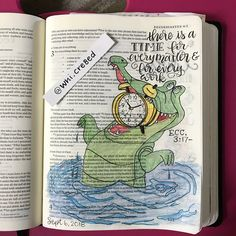"""I messed up with my tracing the clock in """"Tick Tock""""'s mouth, but it still came out pretty decent. Scripture Art, Bible Art, Bible Verses, Spiritual Drawings, Bible Journaling For Beginners, Bible Doodling, Bible Illustrations, Ecclesiastes, Illustrated Faith"""