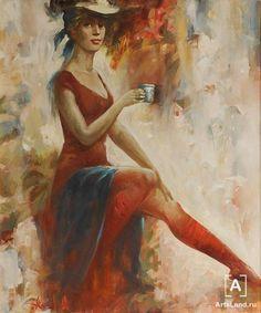 С чашкой кофе. Купить работы автора – Рожанский Анатолий - Art Auction ArtsLand