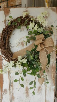 Front Door Wreath summer wreath spring wreath by FarmHouseFloraLs