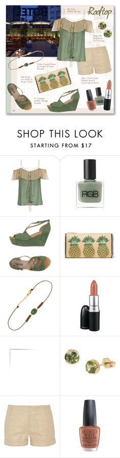 """Untitled #1028"" by louise-stuart ❤ liked on Polyvore featuring RGB Cosmetics, Vic, Edie Parker, MAC Cosmetics, Dinny Hall, Alice + Olivia, OPI, summerdate and rooftopbar"