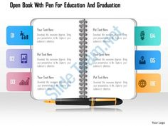 0115 open book with pen for education and graduation powerpoint template Slide01