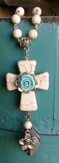 Turquoise Cross Rose Feather Necklace  www.etsy.com/shop/secretstashboutique