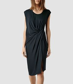 Womens Leena Vi Dress (Petrol) | ALLSAINTS.com