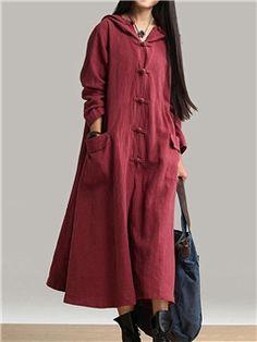 Ericdress Plain Hooded Pocket Maxi Dress