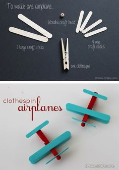 DIY Clothespin Airplanes - The Frugal Female / avión con pinza de madera