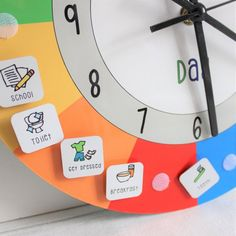 Children's Personalised Day Routine Clock by Craftly, the perfect gift for Explore more unique gifts in our curated marketplace. Learning Clock, Learning Time, Kids Learning, Visual Learning, Learning Spanish, Kinder Routine-chart, Toddler Clock, Kids Routine Chart, Visual Timetable