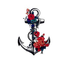 Temporary Tattoo - Flower Anchor - Various Patterns and Sizes / Tattoo Flash Anchor Tattoo Design, Anchor Tattoos, Tattoo Transfers, Transfer Tattoos, Matte Makeup, Tattoo Removal, Temporary Tattoo, Flower Tattoos, Tattoo Inspiration
