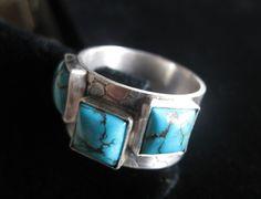 Mens Turquoise Ring  Sterling Silver by alyshabushey on Etsy, $160.00