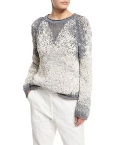 Brunello Cucinelli Long-Sleeve Degrade Pullover Sweater, Slate
