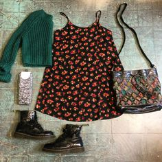 #kimchiblue #sweater, size medium $16. #floral print #dress, size small $18. Tapestry purse $28. Cut-out black leather #drmartens, women's size 8(?) $60. Space dye #otk #socks $12.  . #heytiger #shopheytiger #outfit #outfitpost #outfitinspiration #springfashion #festivalfashion #90s #grunge #boho #style #flatlay #fashion #preloved #sustainablefashion #recycledfashion #ootd #outfitoftheday #outfitgrid #shopsmall #shopbardstownroad #louisville #springflowers #streetstyle