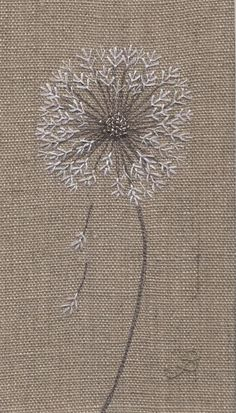 Jo Butcher, Embroidery Artist - Dandelion Clock Head Although this isn't anatomically correct the simplistic design of this works beautifully and the mind fills in the gaps ♡♡♡ Silk Ribbon Embroidery, Crewel Embroidery, Hand Embroidery Patterns, Cross Stitch Embroidery, Machine Embroidery, Embroidery Designs, Embroidery Supplies, Embroidery Dress, Embroidery Tattoo