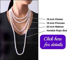 Pearl necklace length comparison #pearl   jewelry #pearl necklace length