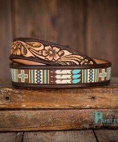 Busted K brand beaded inlay style belts. Cowgirl Belts, Western Belt Buckles, Western Belts, Bead Loom Patterns, Bracelet Patterns, Custom Leather Belts, Custom Belts, Beaded Hat Bands, Beaded Jewelry