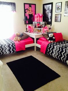 Two girls, one room: stick beds head to head in a corner, tell the girls they get to have the wall their bed is against to decorate according to their own tastes, then paint the rest a neutral color with decorations/usable additions that compromise.