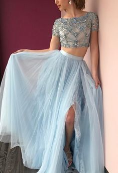blue two pieces sequin tulle long prom dress, blue evening dress for teens