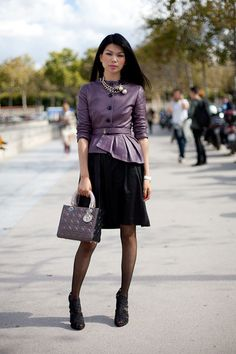 STREET STYLE SPRING 2013: PARIS FASHION WEEK - A leather top is equal parts luxe and sophisticated.