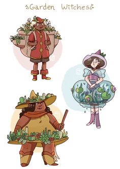 marianascosta:  marianascosta:  i haven't been doing much design work lately because of how swamped I am with webcomics, but I took some time off to do some character designs for a few witches with very portable gardens. How convenient!  and here's another one!