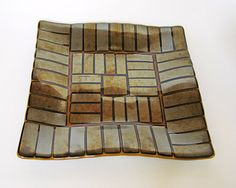 Fused Glass Platter with Gold Metallic Geometric by WindomArtGlass $52