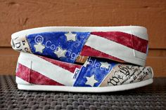 Adult - Flag Day Vintage American Flag with Declaration of Independence and Constitution - Custom Painted TOMS Shoes on Etsy, $100.00