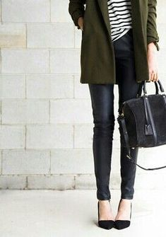 Leather skinnies / stripes / olive coat