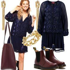 Mi piace tantissimo indossare i vestitini estivi con gli stivaletti! In questo outfit ho scelto un vestito a manica lunga in colore blu e ci ho abbinato degli stivaletti bordeaux, una shopping bag nella stessa tonalità e gli accessori dorati.